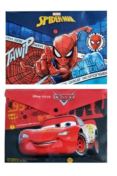 Disney Lisanslı Cars Ve Spider Man Çıtçıtlı Zarf Dosya 2'li