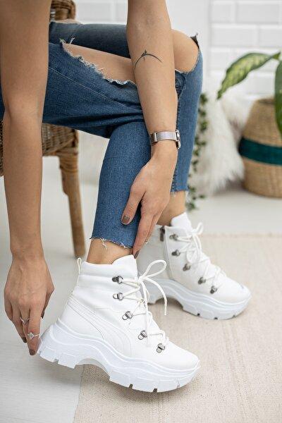 Kadın Beyaz Kısa Bot