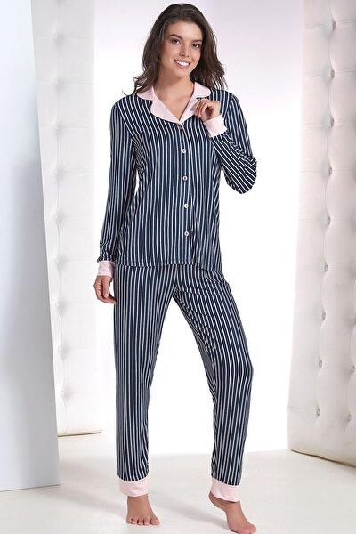 Kadın Lacivert Düğmeli Pijama Takım
