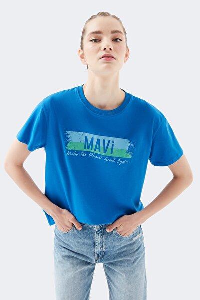 Baskılı Mavi Tişört