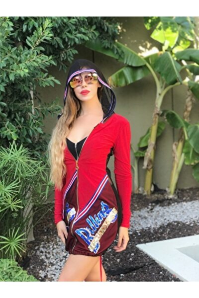 Kadın Kırmızı Önü Payet Detaylı Sırtı Ve Kapşonu File Uzun Hırka