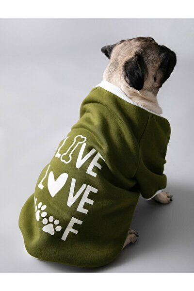 Yeşil Sloganli Köpek Sweatshirt