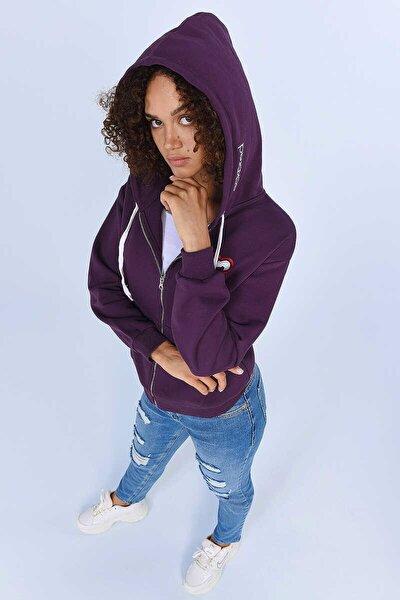 ECKO RED HEIDI Mor Kadın Nakışlı Fermuarlı Sweatshirt