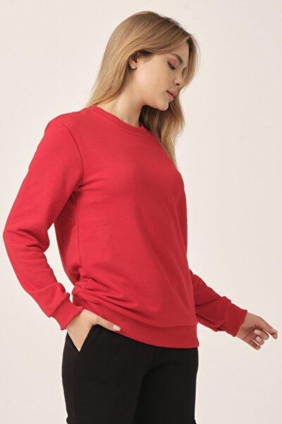 Kadın Kırmızı Basıc Sweatshırt