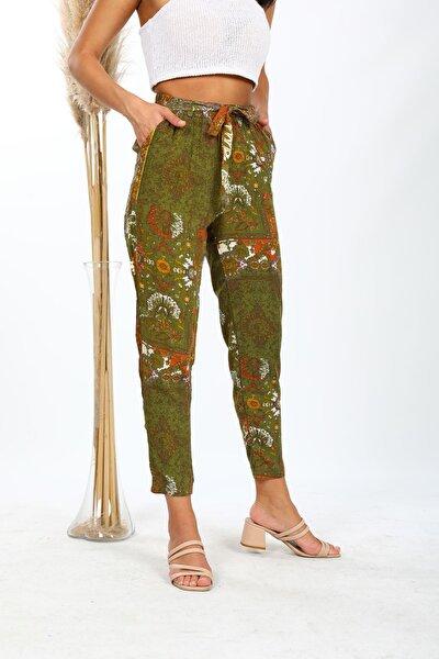 Kadın Haki Desenli Beli Lastikli Bol Paça Pantolon