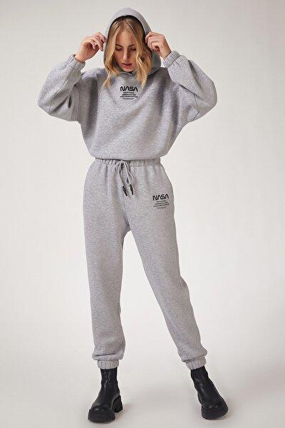 Kadın Gri Polarlı Baskılı Eşofman Takımı  DD00730