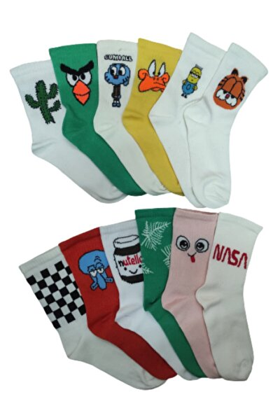 Unisex Beyaz Karakter Desenli Çorap