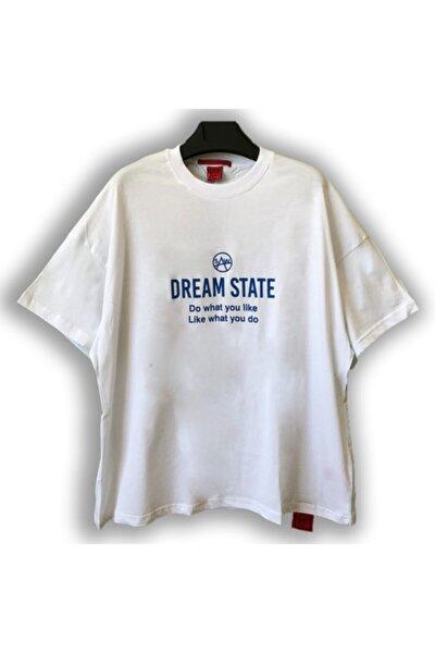 Kadın Beyaz Super Oversize Dream State Baskılı T-shirt