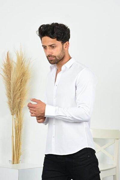 Beyaz Süper Slim Fit Şamre Erkek Gömlek