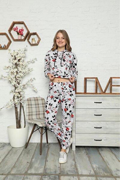 Kadın  Gri Minnie Mouse Desenli Pijama Takımı