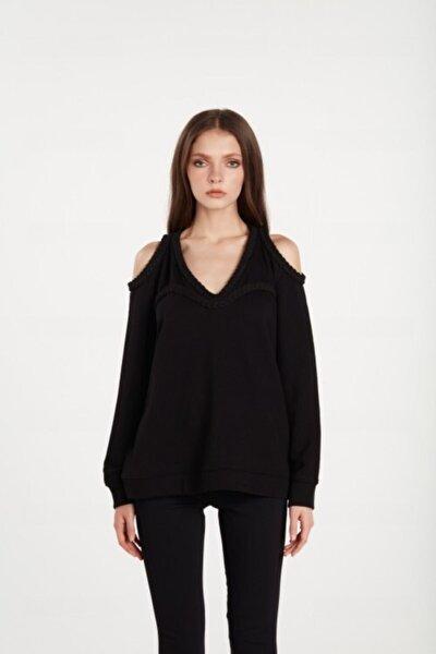 Olıvıa Kadın Siyah Omuz Detaylı Sweatshirt