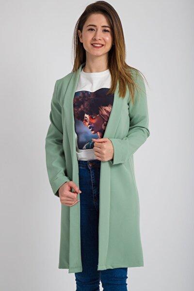 Kadın Mint Truvakar Kol Uzun Ceket