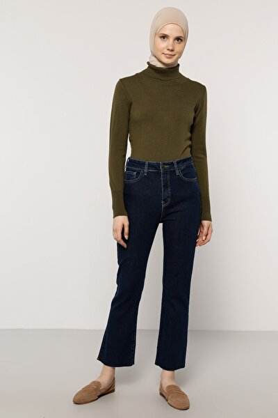 Kadın Lacivert Doğal Kumaşlı Kot Pantolon 1395149