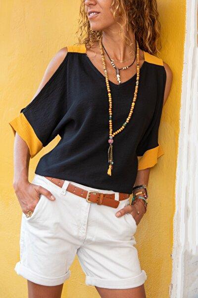Kadın Siyah Keten Omuz Dekolteli Salaş Bluz GK-BST2923