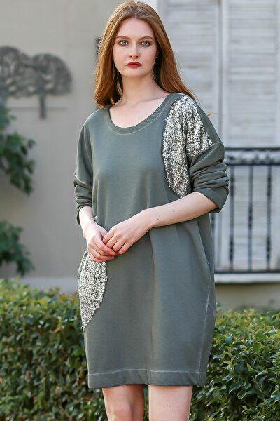 Kadın Haki Bohem Gümüş Pul Boklu Cep Detaylı Salaş Elbise M10160000EL96149