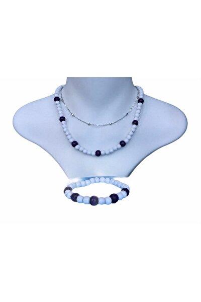 3 Lü Set - Rodyum Gümüş Kaplama Top Zinzirli + Ahşap Kolye Ve Bileklik ( Bayaza - Mor )