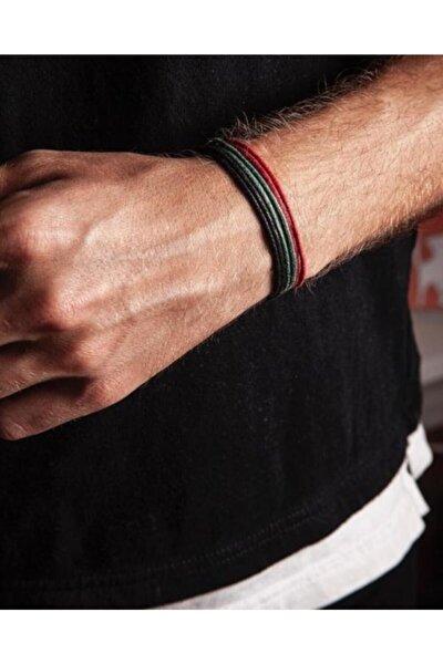 Kalın Ip - Siyah,kırmızı,yeşil 3lü Bileklik