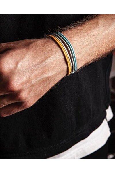 Kalın Ip-mavi,sarı,gri 3lü Bileklik