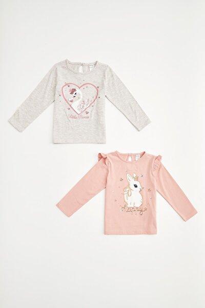 Kız Bebek Pembe Gri Baskılı Çıtçıtlı 2'li Tişört