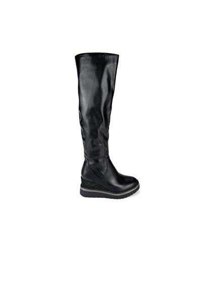Kadın Siyah Dolgu Topuk Çizme 165