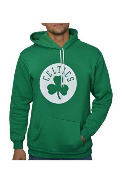 Erkek Yeşil Kapşonlu Celtics 3 İplik Sweatshirt