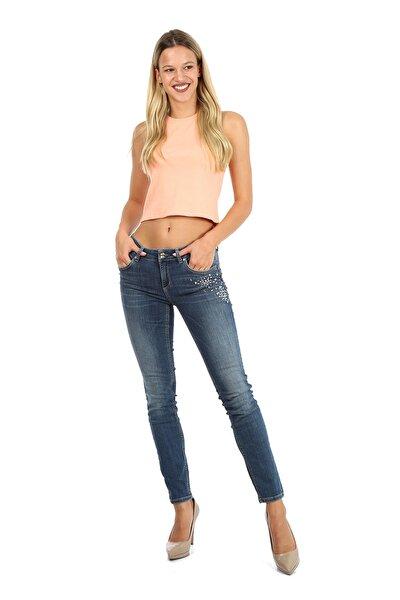 Kadın Mavi Düşük Bel Slim Fit ve Dar Paça Kot Jean   Pantolon