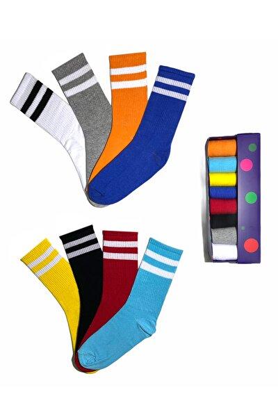 Şeritli Ve Renkli Unisex Çorap Kutusu 8'li