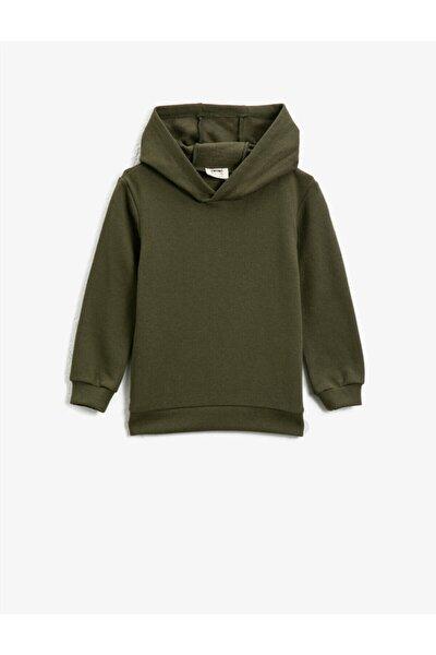 Erkek Çocuk Yeşil Kapüşonlu Basic Uzun Kollu Sweatshirt
