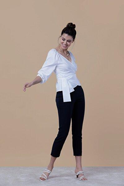 Kadın Beyaz Kruvaze Omuz Ve Kol Ucu Lastikli Poplin Bluz