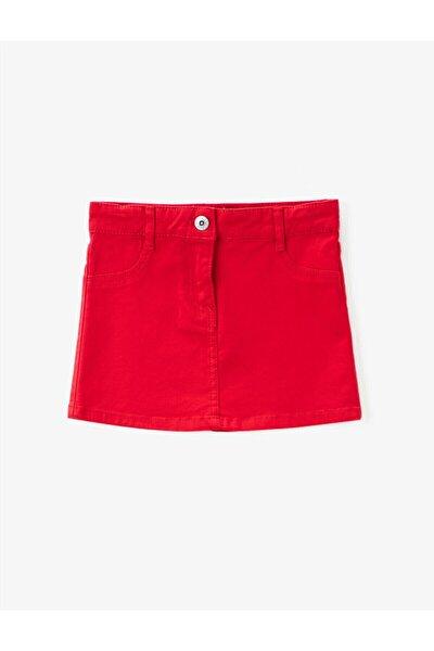 Kız Çocuk Kırmızı Gabardin Kumas Normal Bel Mini Basic Etek