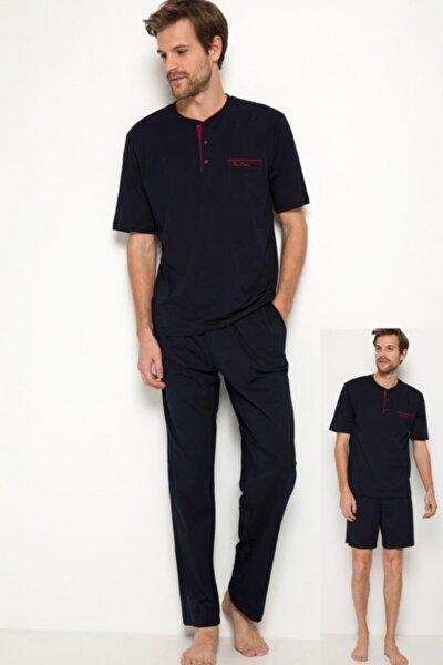 Erkek 3lü Damat Kutulu Çeyiz Lacivert Pijama Takım 5370