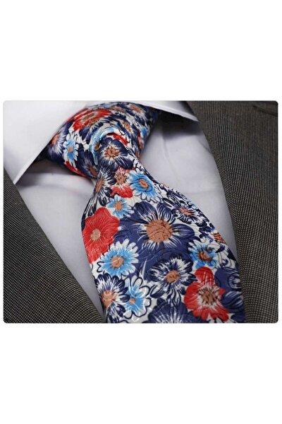 Erkek Mavi Kırmızı Çiçek Baskı Kravat