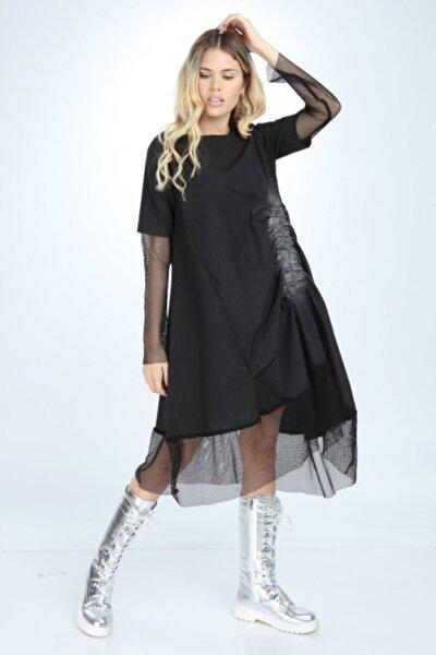 Kadın Siyah Tül Detay Elbise