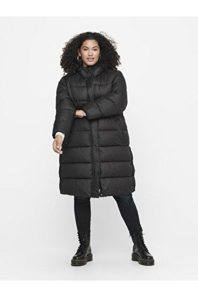 Kadın Siyah Büyük Beden Uzun Şişme Mont 15221012 CARNEWCAMMIE
