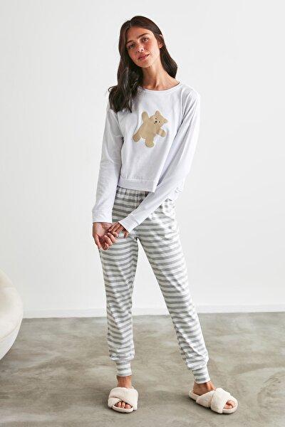 Gri Ayı Baskılı Örme Pijama Takımı THMAW21PT0302