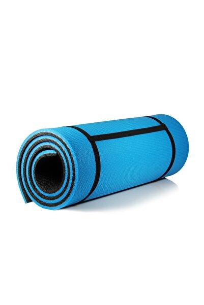 16 Mm Pilates Kamp Matı Mavi Siyah Taşıma Askılı