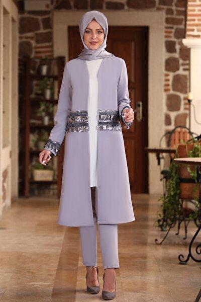 Kadın Gri Halin Ceket Pantolon Takım