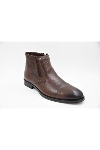 Erkek Kahverengi Hakiki Deri Klasik Bot Ayakkabı 11925251