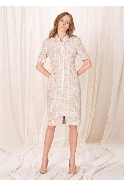 Kadın Pembe Yarım Kollu Tüvit Elbise