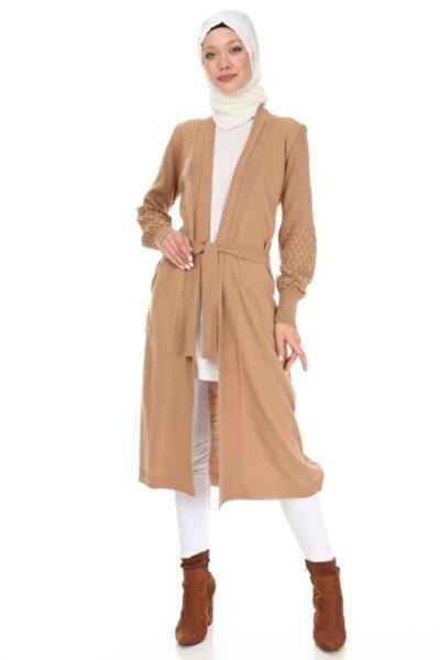 Kadın Kahverengi Kol Detaylı Triko Uzun Hırka