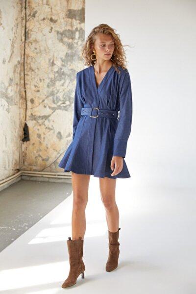 Kadın Mavi Kemerli Denim Elbise