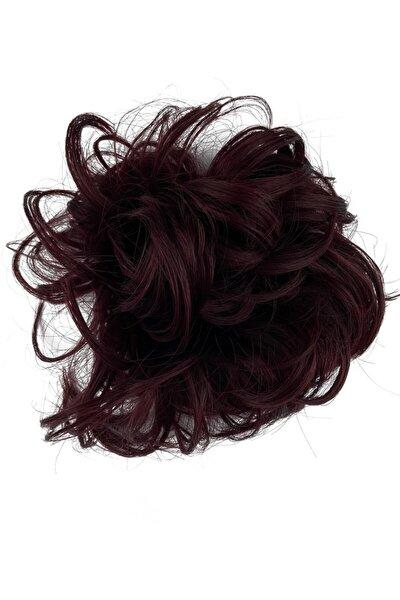 Koyu Kızıl Saç Lastikli Topuz Toka