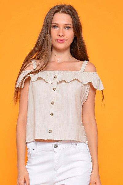 Kadın Bej Dantel Detaylı Keten Bluz 801936