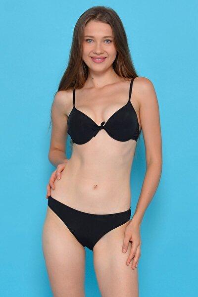 Kadın Siyah Full Lycra Destekli Bikini