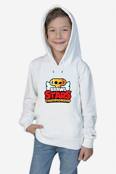 Unisex Çocuk Beyaz Brawl Stars Baskılı Sweatshirt abc-6