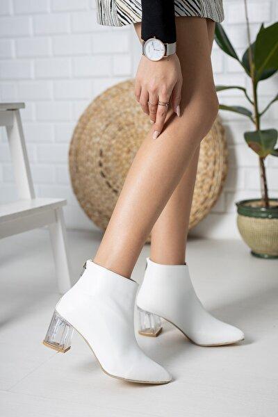 Beyaz Cilt Kadın Şeffaf Topuk Bot Md1050-116-0001