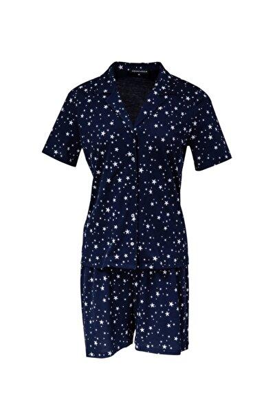 Kadın Lacivert Yumuşak Desenli Baskılı Esnek Pijama Takımı