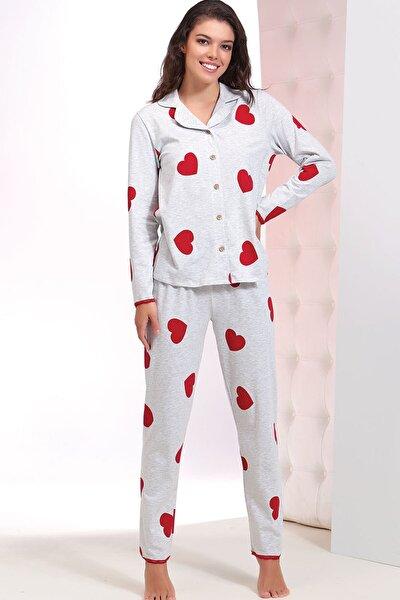Kadın Kırmızı Baskılı Pijama Takım