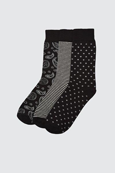 Siyah Erkek 3'lü Soket Çorap TMNAW21CO0061