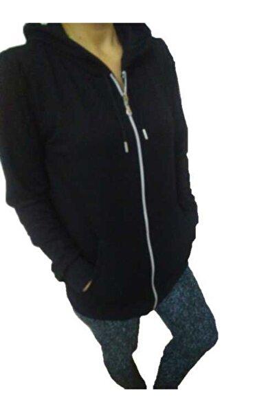 Kadın Siyah Fermuarlı Kapişonlu Cepli Sweatshirt